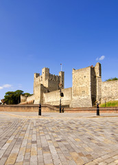 Wide alngle view of Rochester Castle in Kent