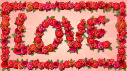 Love - Growing Organic Title with Roses in HD