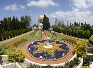 Ornamental garden of the Baha'i Temple in Haifa, Israel.