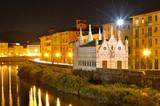 Church Santa Maria de la Spina and Arno river at night, Pisa, Tu poster