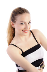 Pretty girl with hair pulled back, smiling, isolated