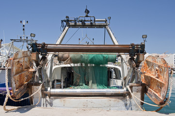 Rear View of a Trawler Garrucha Harbor, Almeria, Spain