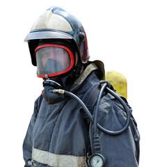 Портрет пожарного на белом фоне