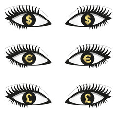 Eyes with currency icons