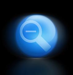 Lupe Button blau leuchtend