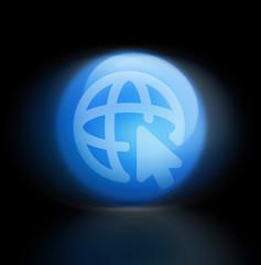 World welt erde web glossy black light blue