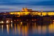 Prague Castle and Vltava Night Panorama,Small Quarter,Prague