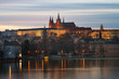 Sunset Prague Castle, view from the Vltava river