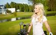beauty blonde girl play golf