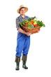 Farmer holding a basket of vegetables