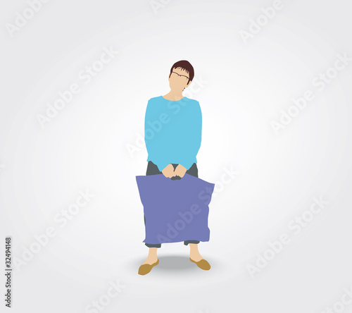 Silhouette de femme portant un sac de courses