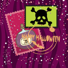 Happy Halloween Card with Poison and Stamps