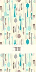 Restaurant menu with cutlery