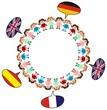 Kinder im Kreis mit Sprechblasen, Fremdsprache