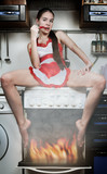 Portrait of sexy housewife  in apron poster