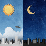 city panorama silhouettes recycled paper craft poster