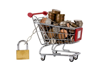 Trolly with coins in, secured with padlock and isolated
