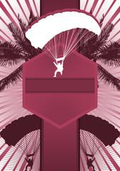 Parachuting Design Poster Template. Vector Illustration.