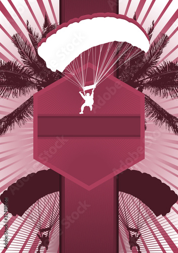 Parachuting Design Poster Template. Vector Illustration.
