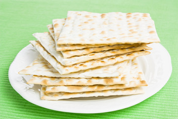 Pile of Jewish Matza bread on a plate