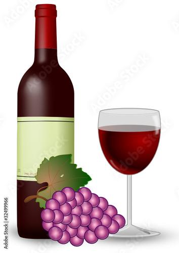 Rotwein mit Weinglas und Weintrauben
