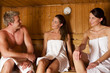 Three people in sauna