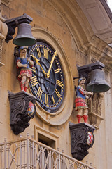 Clock assembled 1728 on the tower of Christ Church in Bristol UK