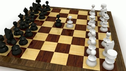 Chess check mate seen from raising and rotating camera