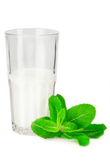 Glass of milk with fresh mint leaf on white background