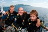friends scuba dive on boat poster