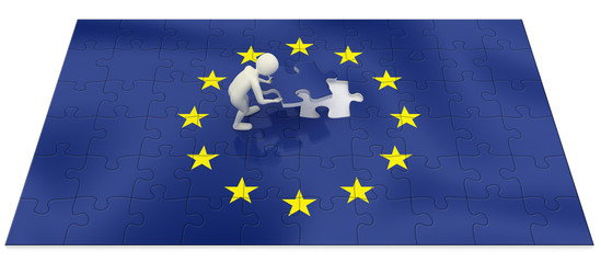 3d man finalizing European Union flag puzzle