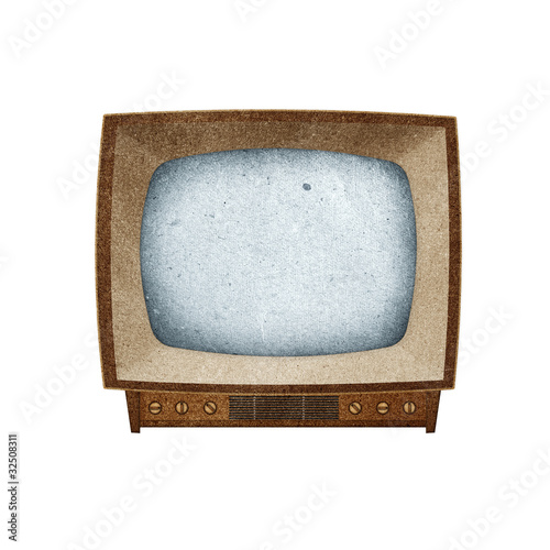 poster of Television ( TV ) icon recycled paper craft.