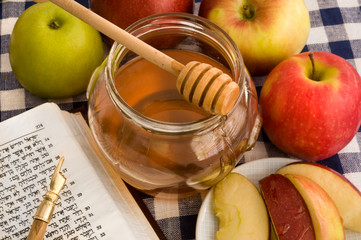 honey , green and red apples for Rosh Hashana – jewish new year