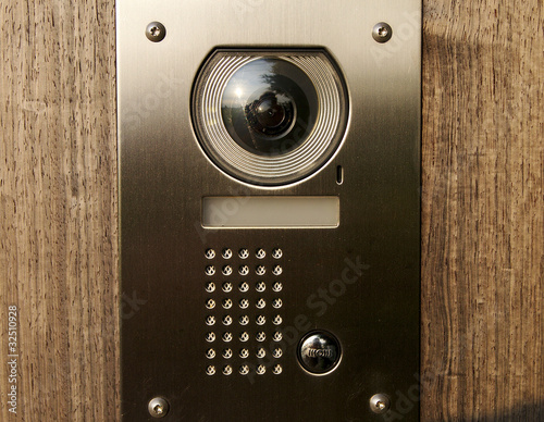 Door intercom on wood