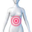 Weiblicher Oberkörper – Magenschmerzen und Bauchschmerzen