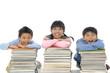 Happy schoolchildren with many books