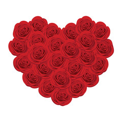 Red roses in the shape of heart