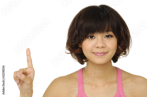 attractive young woman pointing her finger