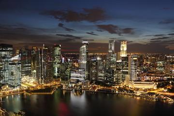 Downtown Skyline Singaporeat twilight.