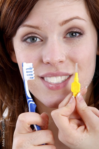 tooth cleaning (white background)