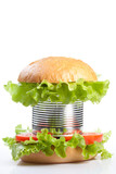 Unhealthy canned fast food hamburger poster