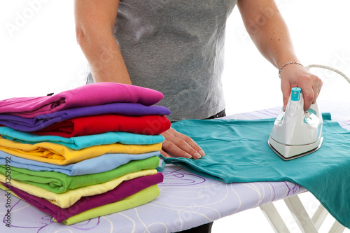 housewife is doing the ironing