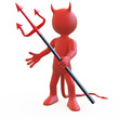 Devil posing threatening with his red and black trident