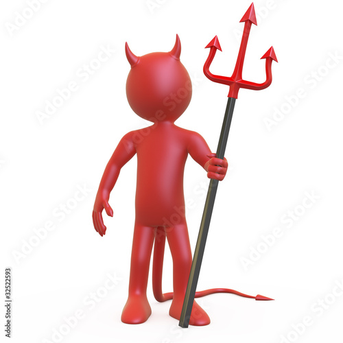 Devil posing with his red and black trident