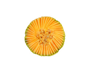 Muskmelon from top isolated on white