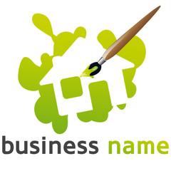 logo maison verte et pinceau
