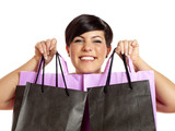 Fototapety Pretty woman with shopping bags is so happy