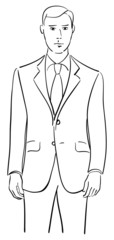 Vector drawing of a model wearing a tailored two piece suit