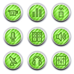 Media web icons , green glossy circle buttons