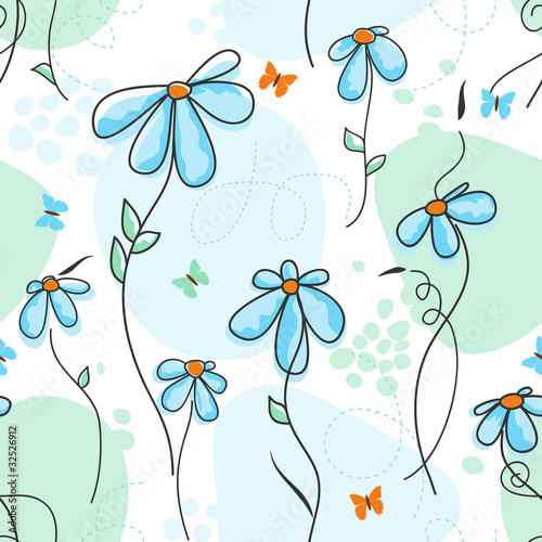 Tuinposter Abstract bloemen Cute nature seamless pattern